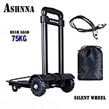Carrying Cart, 75 Kg Foldable and Lightweight, Portable Travel Goods, Outdoor Transport Cart with Fixed Rope, Cable Load Capacity and Storage Bag, by Ashnna