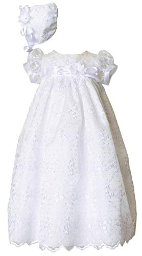 Jada Glittery Floral Organza Special Occasion Christening Gown - White ()
