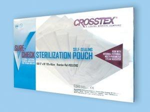 """Crosstex Sure-Check Sterilization Pouch - 12"""" x 18"""" - Model SCL12182 - Box of 100"""