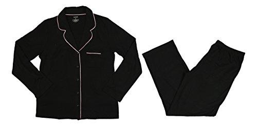Alfani Notch Collar Satin Trim Knit Pajama Set (Large, Classic Black) from Alfani
