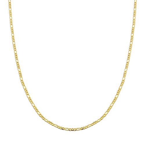 10K Yellow Gold 2mm Solid Figaro Chain Necklace (16 inches) - Gold Pave Figaro Chain
