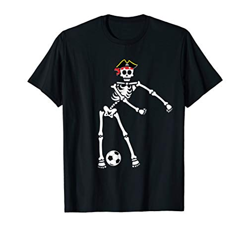 Pirate Skeleton Soccer Halloween Tshirt Flossing Dance Kids -