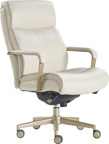 LaZBoy Melrose Modern Executive Office, Adjustable High Back Ergonomic Computer Chair with Lumbar Support, Brass Finish, Ivory White Bonded Leather