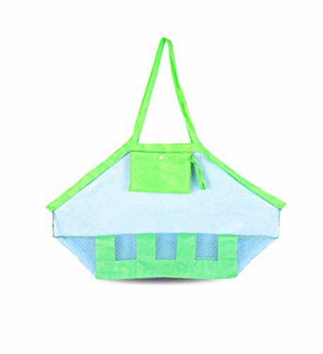 BeeSpring Beach Mesh Tote Bag, Large Durable Beach Bag Tote(XL Size)Mesh Bag for Beach Family Children Play, Perfect for Beach, Swimming or Boating Holding Childrens Toys (Blue Mesh)
