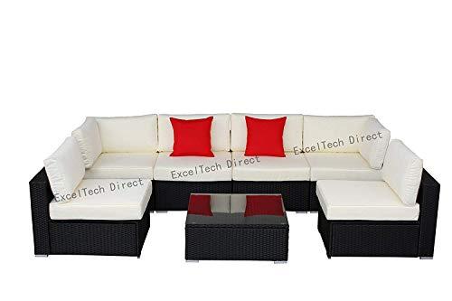Do4U 7pcs Outdoor Patio Garden Rattan Wicker Sofa Set Sectional Furniture Set (Black-8004) - Black Outdoor Furniture
