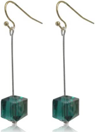 GiftJewelryShop 10MM Sterling Silver Plated Green Square Faceted Crystal Glass Bead Dangle Earrings