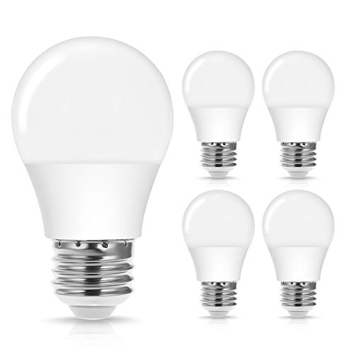 Dimmable A15 LED Bulb, Jandcase 40W Equivalent LED Light Bulbs, 4W, Daylight White 5000k, 400LM, Home/Office Lighting for Chandelier, Ceiling Fan, Living Room, Hallway, E26 Medium Base, 4 Pack