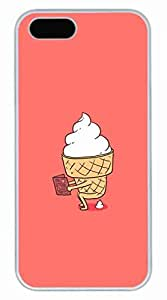 Mr Funny Ice Cream Customized Popular DIY Hard Back Case Cover For iPhone 5S White