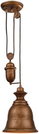 Elk 65060-1 8-Inch Farmhouse 1-Light Bellwether Pendant, Copper