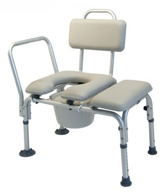 Lumex 7956A Padded Commode Transfer Bench with Pail and Cover