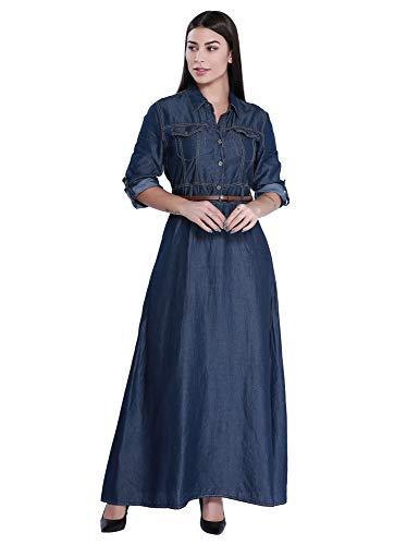 Shining Women's Modern Long Dress Roll Tab Sleeve Button Front Denim Maxi Dresses - Tab Dress Front