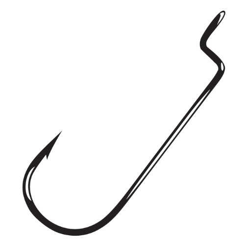 Gamakatsu Round Bend Offset Worm Hook-Pack Of 25 (Black, 3/0) (Hook Bend Round Worm)