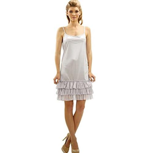 chic Women s Tiered Ruffle Full Length Camisole Slip Dress Extender (K116) 0f974a688966