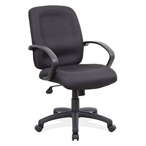 OfficeSource Mid Back Executive Office Desk Chair, Black Upholstered Seat & Back, Black Frame, Waterfall Seat Design Promotes Circulation (5045ONX) by OfficeSource