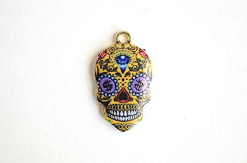 World's Natural Treasures Skull Pendant, Sugar Skull Charms, Colorful Enamel Skull Charm 4 Pieces