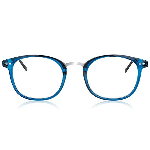 In Style Eyes Modern Oval Clear Frame Readers Blue +3.00