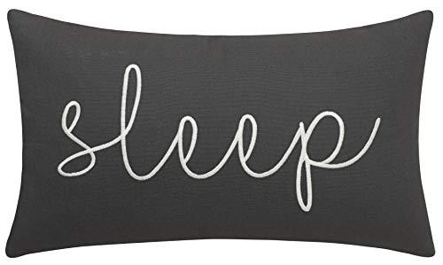 "EURASIA DECOR DecorHouzz Sleep Sentiment Ivory Embroidered Pillow Cover Cushion Cover Pillow Cases Throw Pillow Decorative Pillow Wedding Birthday 12""x20"" (Grey)"