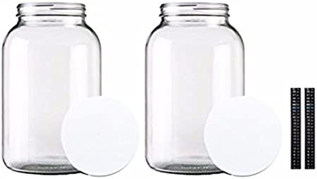 2 Pack Kefir Kombucha Clear- Made In The USA Storing and Canning Uses Natural Land 1-Gallon Glass Jar Wide Mouth with Airtight Metal Lid and Dual Scale Thermometer- USDA Approved Dishwasher Safe Mason Jar for Fermenting