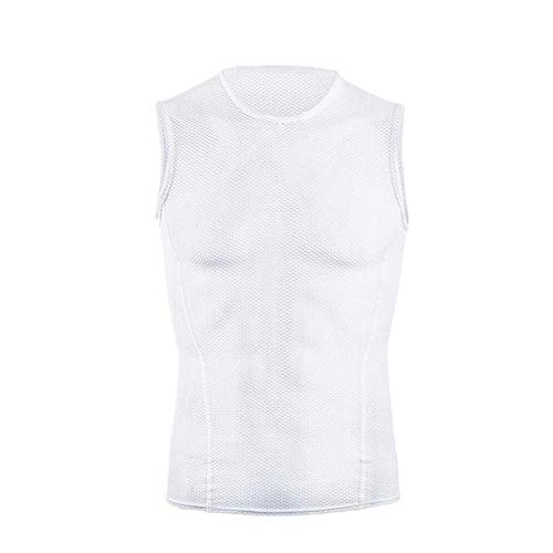 Dooy Mens Quick Dry Sleeveless Undershirt Cycling Base Layer,Breathable Sport Tank Top Vest for Running,Hiking,White. (White, L)