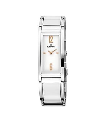 Kronos - Ceramic Bicolor 933.8.33 - Reloj de seÑora de cuarzo - brazalete de cerÁmica - color esfera: blanca