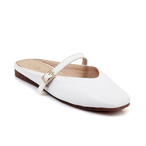 Donna Sandali Testa Cinghia di la White Flip Vintage Grandi Fibbia della Piatta Dimensioni Quadrata SCARPA a Flop d5IwzxdP
