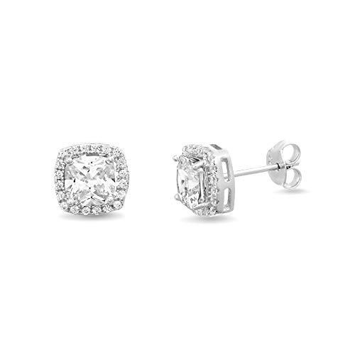 INSPIRED BY YOU. Cushion Shaped Prong Set Cubic Zirconia Stud Bridal Halo Earring for Women in Rhodium Plated 925 Sterling ()