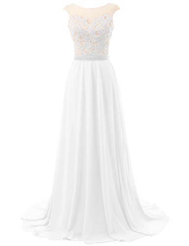 JAEDEN Long Prom Dresses Lace Open Back Chiffon Bridesmaid Dress Cap Sleeve Evening Party Gown White (Chiffon Lace Evening Gown)