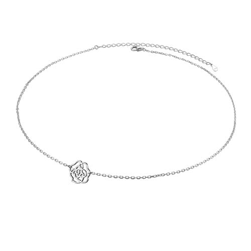 Choker Flowers Necklace - S925 Sterling Silver Jewelry Hollow Sideways Camellia Flower Choker Necklace 14+4