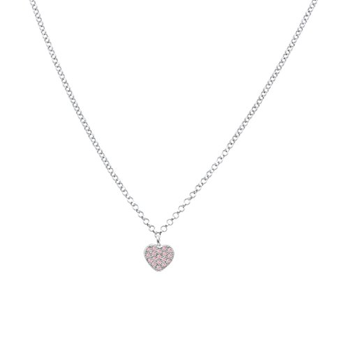 UNICORNJ Childrens Sterling Silver 925 Pink Cubic Zirconia Pave Small Heart Pendant Necklace 15