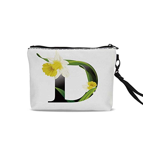 Letter D Travel Cosmetic Bag,Black D Silhouette Entangled with Growing Daffodils Artistic with Flowers Decorative For Women Girl,9