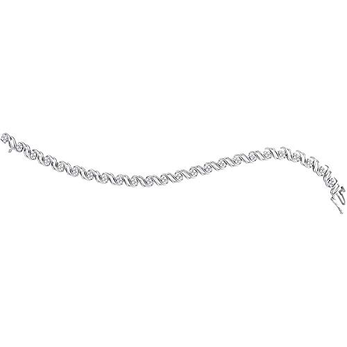 FB Jewels Solid 10kt White Gold Womens Round Diamond Tennis Bracelet 1.00 ()