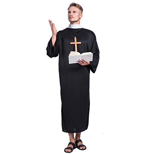 EraSpooky Men's Priest Costume Halloween Adult Monk Friar Costumes Robe for Men - Funny Cosplay Party -
