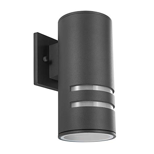 Outdoor Wall Light Fixture, Aluminum Up/Down Wall Sconce Waterproof Porch Light for Outdoor/Indoor Use, Painted Gray, ETL Listed