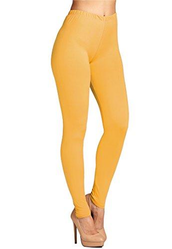 Leggings Mania Women's Plus Solid Color Full Length High Waist Leggings Mustard ()