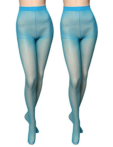 OSABASA Women's 20 Denier Semi Opaque Solid Color Footed Pantyhose Tights 2Pair TEAL US S-M/Asia M-XL (KWMT016)