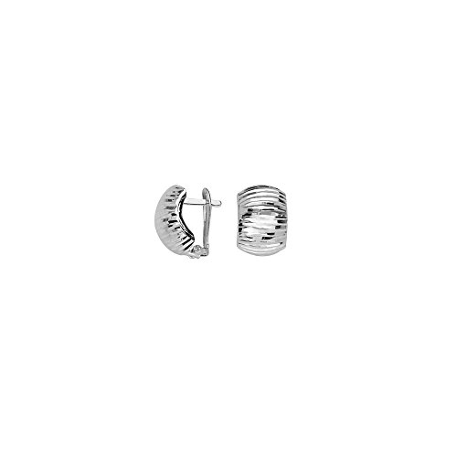 10k White Gold Diamond-cut Domed Clip Back Earrings by JewelryWeb