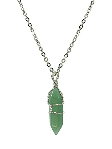 Paialco Jewelry Hand Wired Natural Aventurine Crystal Healing Point Chakra Pendant Necklace 18