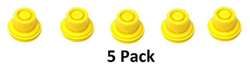 JSP Manufacturing 5 Pack Replacement YELLOW SPOUT CAPS Top Hat Style fits # 900302 900092 BLITZ Gas Can Spout Cap fits self venting gas can Aftermarket (SPOUTS NOT INCLUDED)