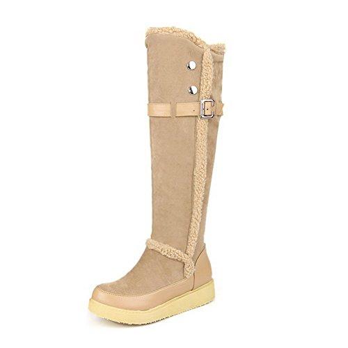 Amoonyfashion Kvinners Runde Lukket Toe Lave Hæler Pu Frostet Solide Støvler Med Skinn Knappen Aprikos