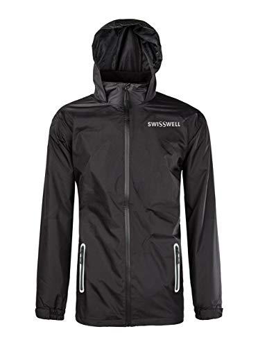 GEEK LIGHTING Men's Front-Zip Rain Jacket Lightweight Waterproof Packable with Hideaway Hood (Black, Large) ()
