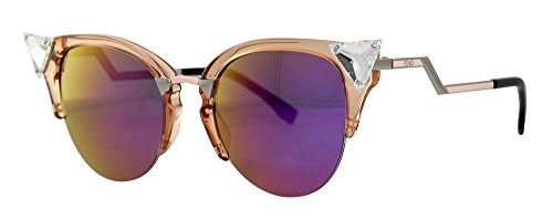 Fendi Women's Iridia Crystal Corner Sunglasses, Trans Print Peach/Multi Pink, One Size (Sunglasses Retro Fendi)