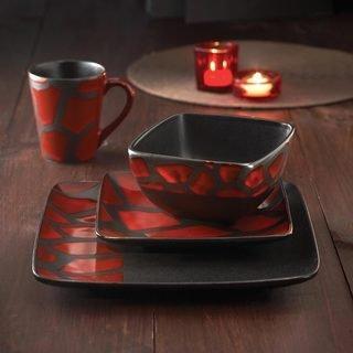 American Atelier Safari 16-Piece Red Giraffe Dinnerware Set