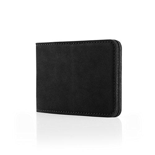 SURAZO Leder Geschenkset Handy Schutzhülle, Card Holder, Schlüsselring - Farbe Schwarz Vintage Kollektion für LG G4 (5,50 Zoll)