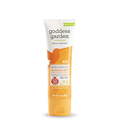 Goddess Garden Kids SPF 50 Mineral Sunscreen Lotion for Sensitive Skin (3.4 oz. travel size), Reef Safe, Sheer Zinc Oxide, Broad Spectrum, Water Resistant, Non-Nano, Vegan, Leaping Bunny Cruelty-Free