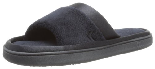 Womens Slide Slipper (ISOTONER Women's Microterry Satin Trim Wider Width Slide Slippers Black Large 8.5-9)