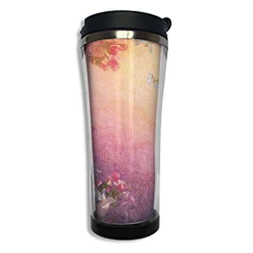 Travel Coffee Mug 3D Printed Portable Vacuum Cup,Insulated Tea Cup Water Bottle Tumblers for Drinking with Lid 8.45 OZ(250 ml)by,Art,Enchanted Cherry Blossom Petals Field Shabby Chic Floral Garden -