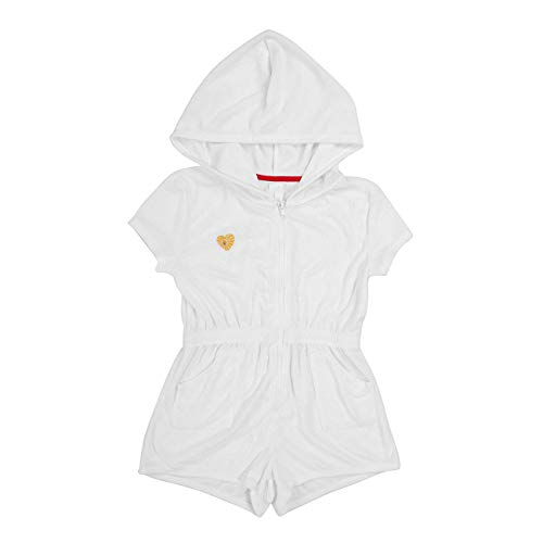 DAYU Girls Hooded Romper Swim Robe Zip Front Terry Swimsuit Cover Ups, White, 6-6X