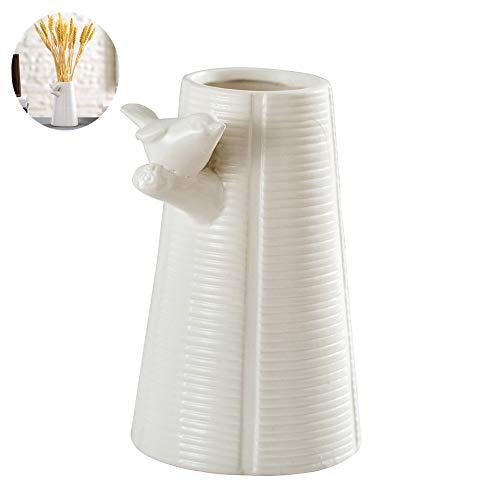 Anding White Ceramic Vase - Modern Vase - Elegant Bird Twig Art Design - Animal Decoration - Gifts for Friends and Family, Wedding, Desktop Center Vase, Perfect Home Decoration Vase - Gift Perfect Vase