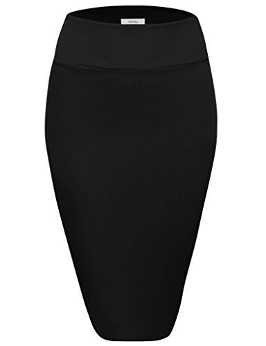 Scuba Pencil Skirt Midi Bodycon Skirt Below Knee Skirt, Office Skirt High Waist Black ()