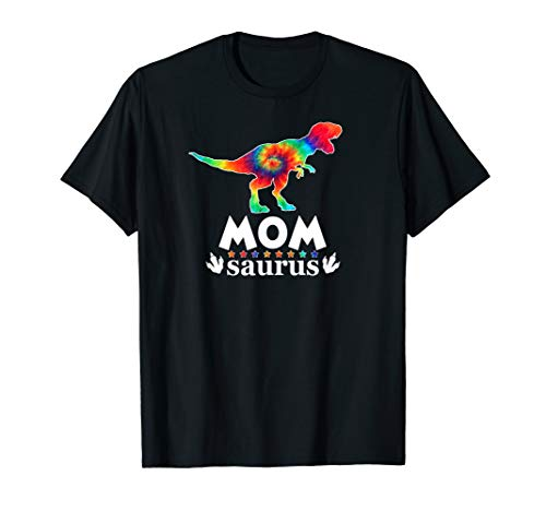 Mom Saurus Cute Tie Dye Family Dinosaur Gift T-shirt
